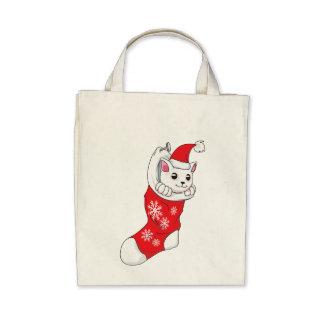 Custom Merry Christmas White Kitten Cat Red Sock Bags