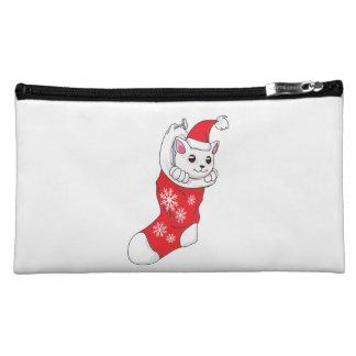 Custom Merry Christmas White Kitten Cat Red Sock Cosmetic Bags