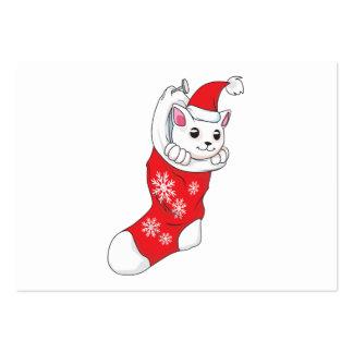 Custom Merry Christmas White Kitten Cat Red Sock Business Card Template