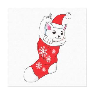 Custom Merry Christmas White Kitten Cat Red Sock Stretched Canvas Print