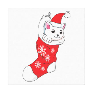 Custom Merry Christmas White Kitten Cat Red Sock Canvas Prints