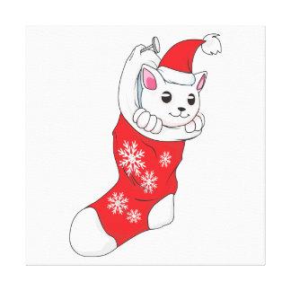 Custom Merry Christmas White Kitten Cat Red Sock Gallery Wrapped Canvas
