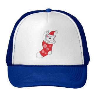 Custom Merry Christmas White Kitten Cat Red Sock Hat