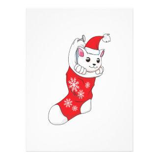 Custom Merry Christmas White Kitten Cat Red Sock Custom Invitations