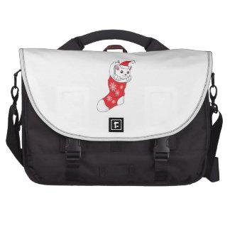 Custom Merry Christmas White Kitten Cat Red Sock Bag For Laptop
