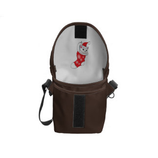 Custom Merry Christmas White Kitten Cat Red Sock Messenger Bag