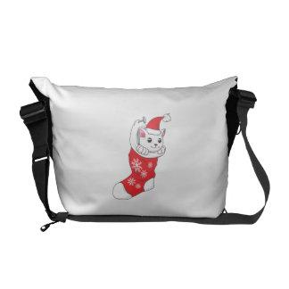 Custom Merry Christmas White Kitten Cat Red Sock Courier Bag