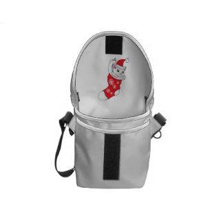Custom Merry Christmas White Kitten Cat Red Sock Messenger Bags