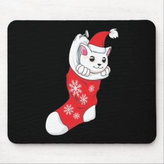 Custom Merry Christmas White Kitten Cat Red Sock Mousepads