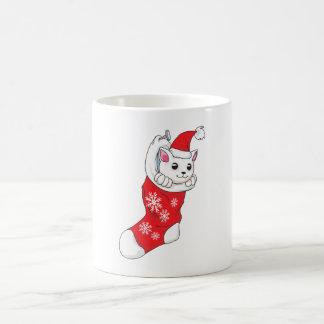 Custom Merry Christmas White Kitten Cat Red Sock Coffee Mug