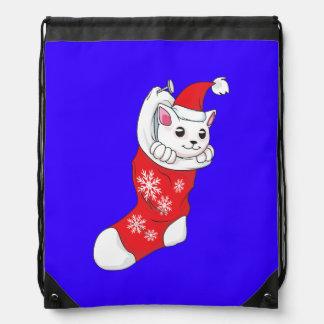 Custom Merry Christmas White Kitten Cat Red Sock Backpack