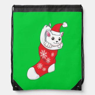 Custom Merry Christmas White Kitten Cat Red Sock Cinch Bags