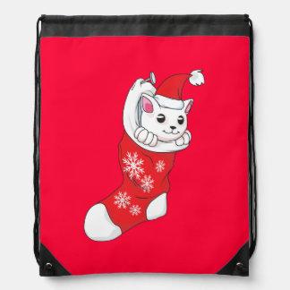 Custom Merry Christmas White Kitten Cat Red Sock Drawstring Bags