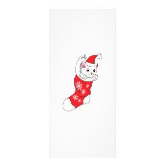 Custom Merry Christmas White Kitten Cat Red Sock Custom Rack Card