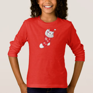 Custom Merry Christmas White Kitten Cat Red Sock T-Shirt