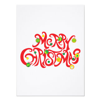 Custom Merry Christmas with Christmas Balls Invitations