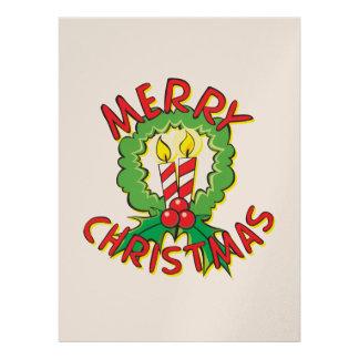 Custom Merry Christmas Wreath Candle Invitations