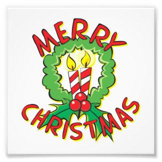 Custom Merry Christmas Wreath Candle Invitations Photograph