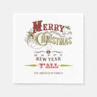 Custom Merry Christmas Y'all Holiday Paper Napkins