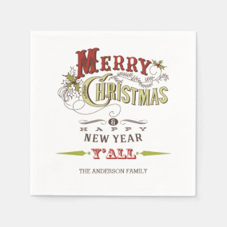 Custom Merry Christmas Y'all Holiday Paper Napkins Disposable Serviette