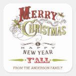 Custom Merry Christmas Y'All Holiday Sticker