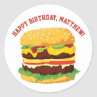 Custom Message Cheeseburger Stickers or Seals