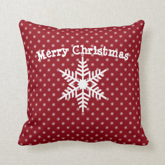 Custom Message Christmas Snowflakes Red Any Color Throw Pillow