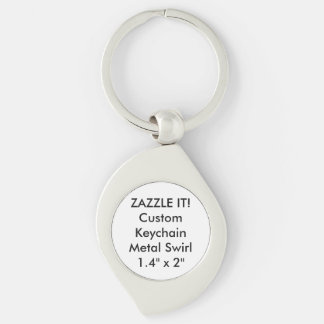 Custom Metal Keychain Key Ring Blank Template Silver-Colored Swirl Key Ring
