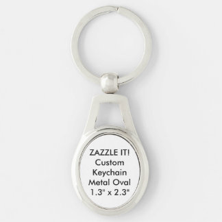 Custom Metal Keychain Key Ring Blank Template Silver-Colored Oval Key Ring