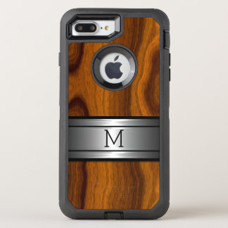 Custom Metal Modern Trendy Wood Grain Pattern OtterBox Defender iPhone 8 Plus/7 Plus Case
