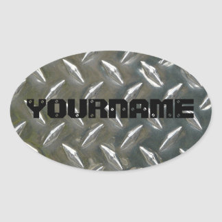 Custom Metal Work Name plate Oval Sticker