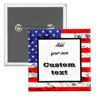 Custom Metallic American Flag Design 2 15 Cm Square Badge