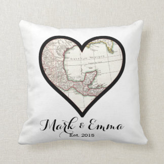 Custom Mexico honeymoon wedding gift couple names Cushion