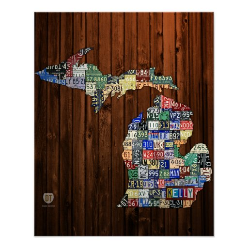 Custom Michigan License Plate Map w/ Name Poster
