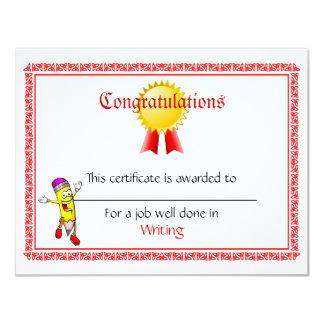 "Custom Mini Award Certificates 4.25"" X 5.5"" Invitation Card"