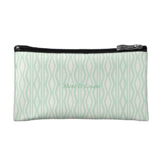 Custom Mint Cream Geometric Pattern Cosmetic Bag