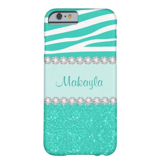 Custom Mint Glitter Sparkles Zebra iPhone 6 Case