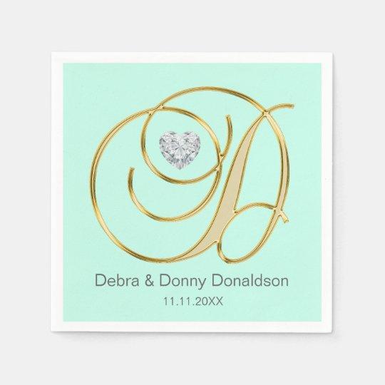 Custom Mint Green Gold Monogrammed D Wedding Disposable