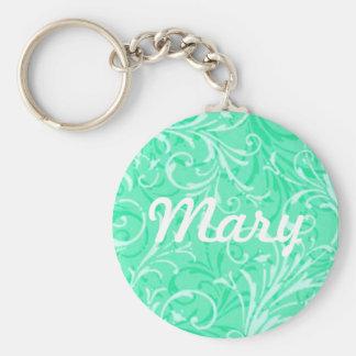 Custom Mint Green Ornamental Key Chain