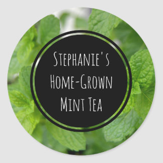Custom Mint Tea/Spice/Herb Bottle Jar Garden Label Round Sticker
