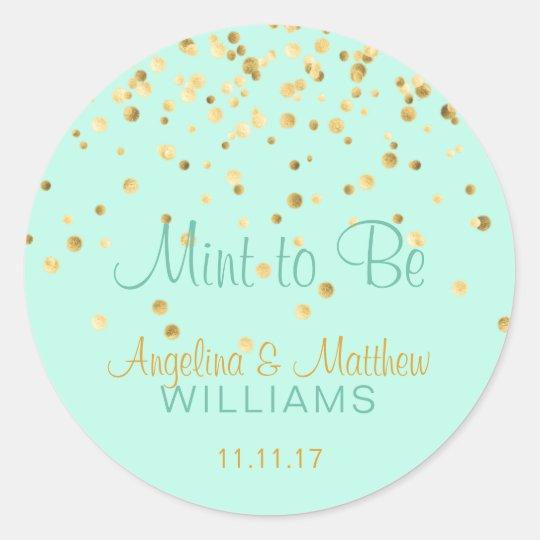 Custom Mint to Be Mint Gold Confetti Wedding