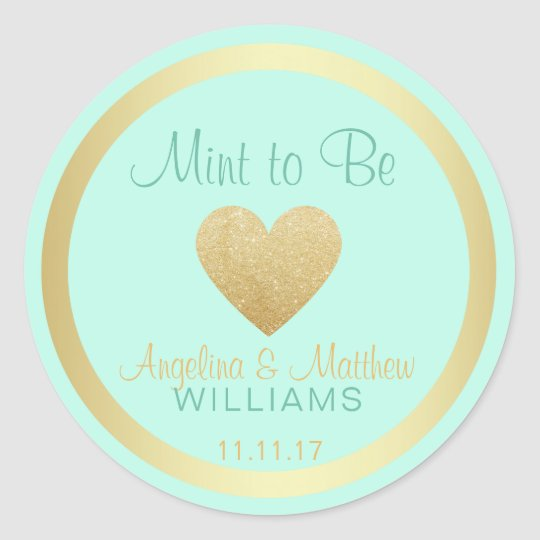 Custom Mint to Be Mint Gold Glitter Heart