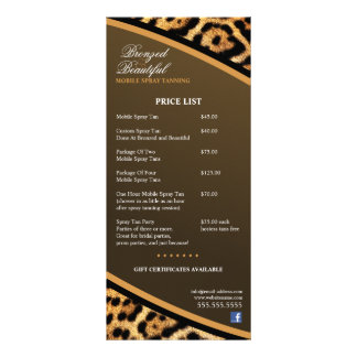 CUSTOM Mobile Spray Tanning Price List Rack Card