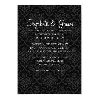 Custom Modern Black Damask Wedding Invitations