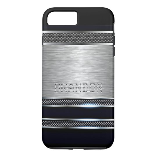 Custom Modern Faux Shiny Metal Stripes Pattern iPhone