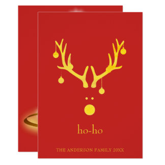 Custom modern funny Christmas reindeer gold red Card
