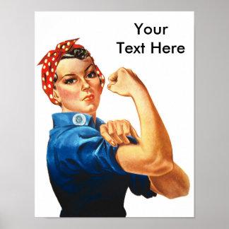 Custom Modern Rosie the Riveter Poster