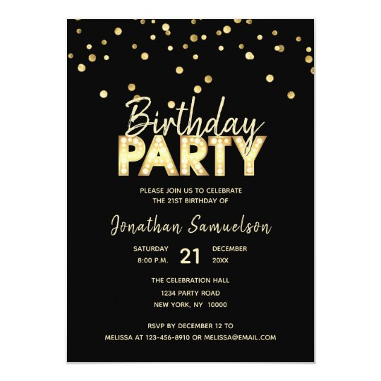 Custom Modern Trendy Gold Black BIRTHDAY PARTY Card