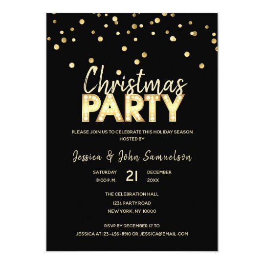 Custom Modern Trendy Gold Black CHRISTMAS PARTY Card
