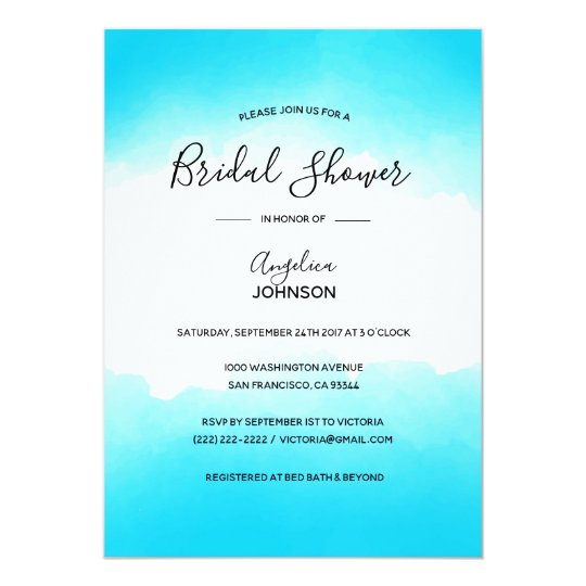 Custom Modern Turquoise Watercolor Bridal Shower Card